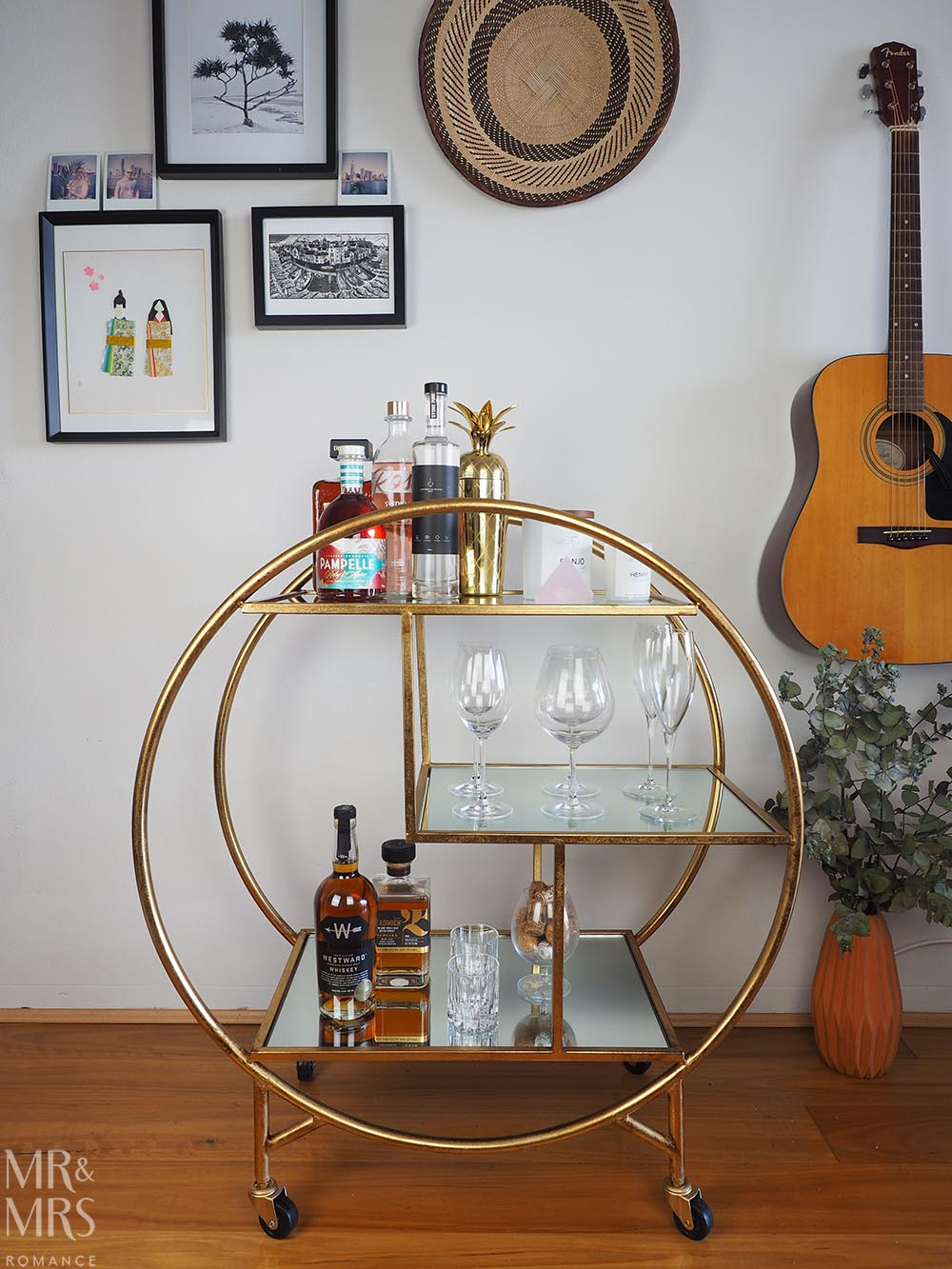 Christmas gift guide homewares and food - OneWorld Collection antique bar cart