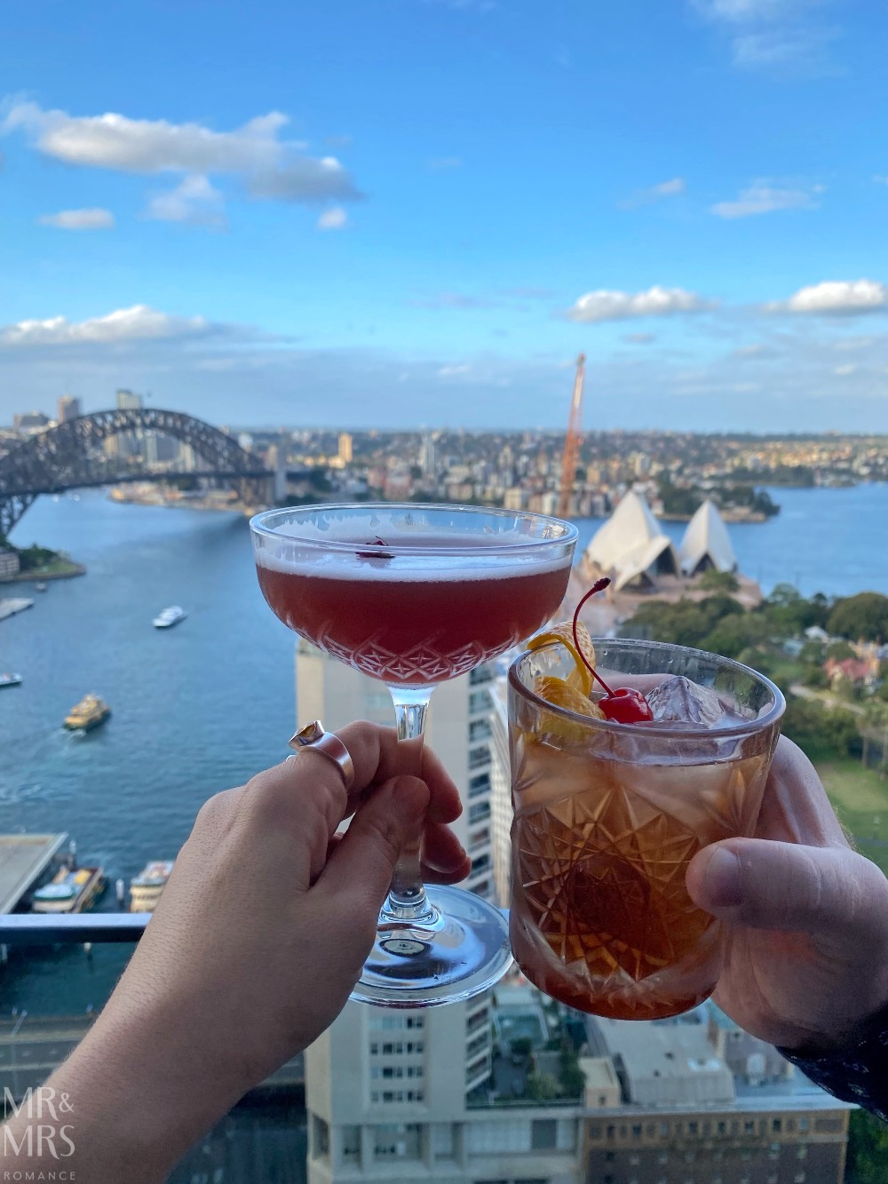 Panorama Lounge Bar InterContinental Hotel Sydney - cocktails with Opera House and Harbour Bridge