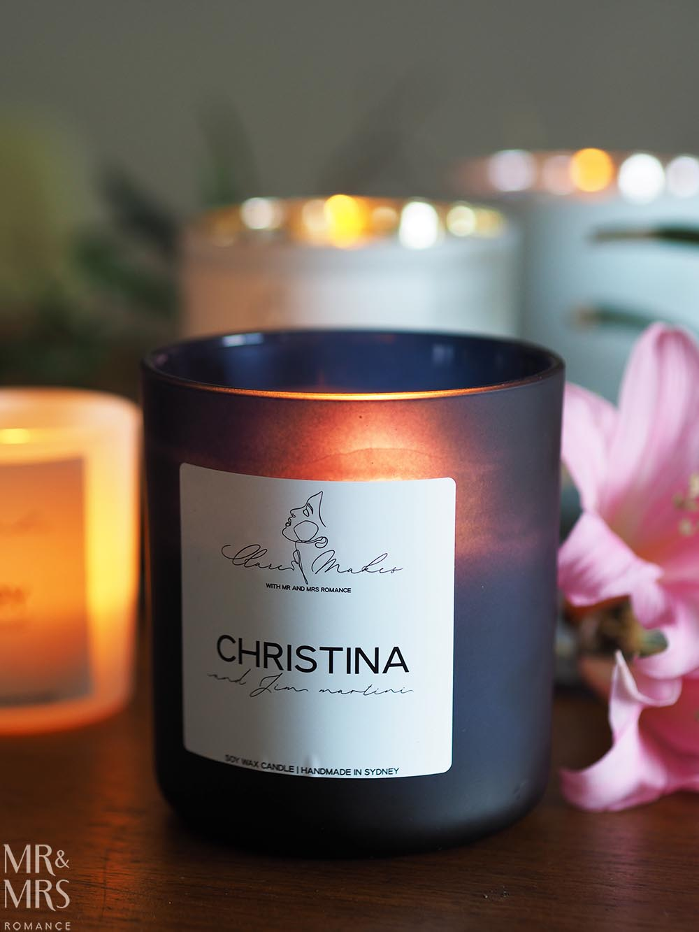 Romantic gifts - Clare Makes candle - Christina and Jim martini