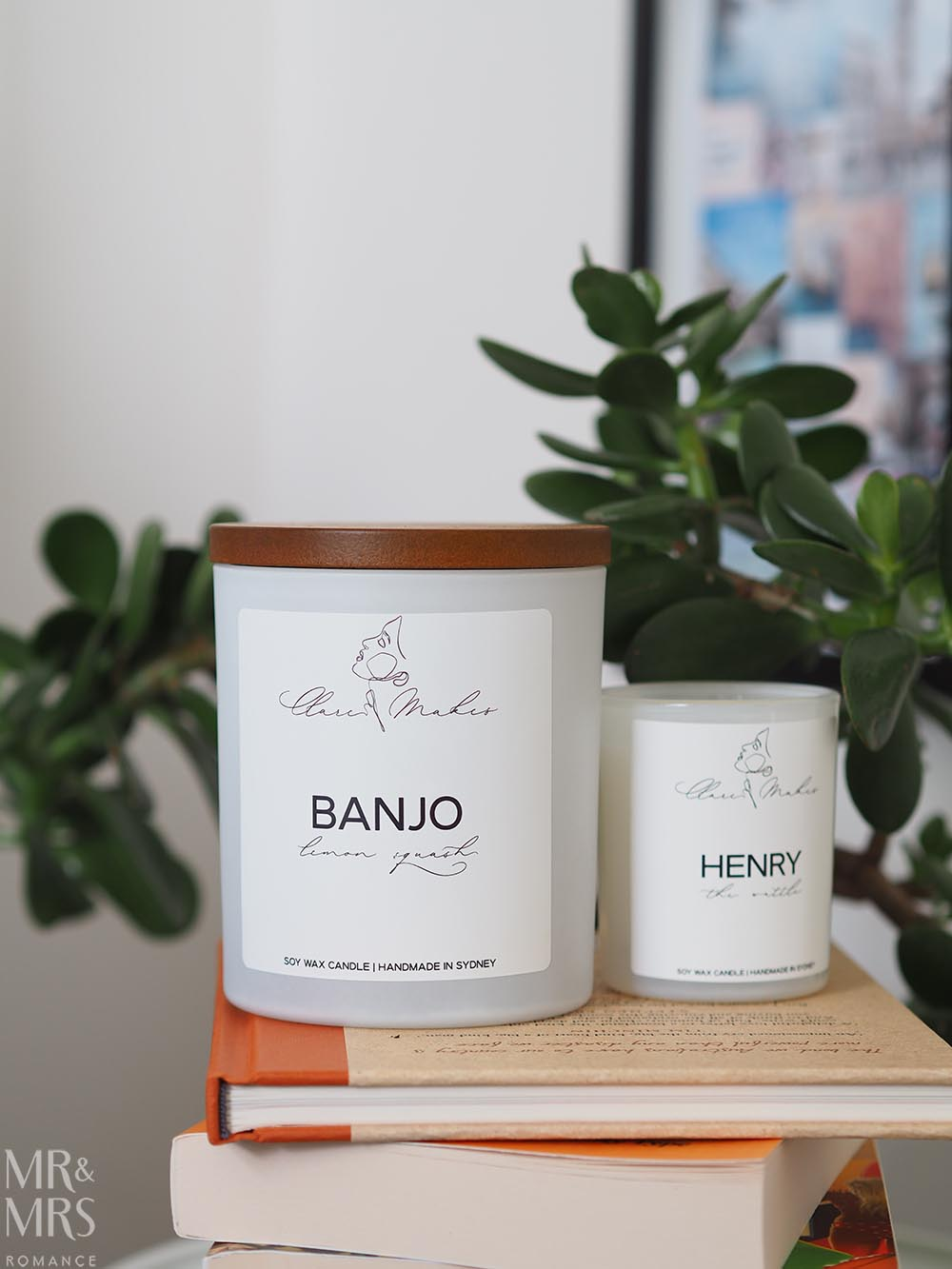 Clare Makes candles Banjo and Henry