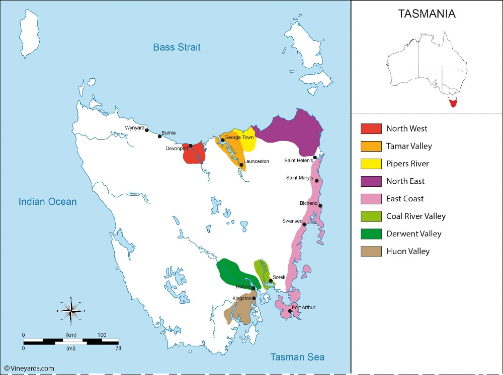 Tasmania wine regions from Vinyards.com