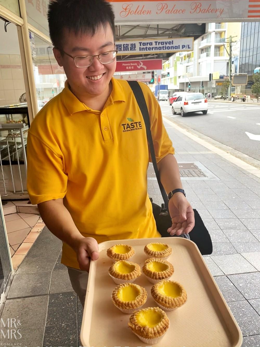 Hurstville food tour with Taste Cultural Food Tours - Patrick with custard tarts