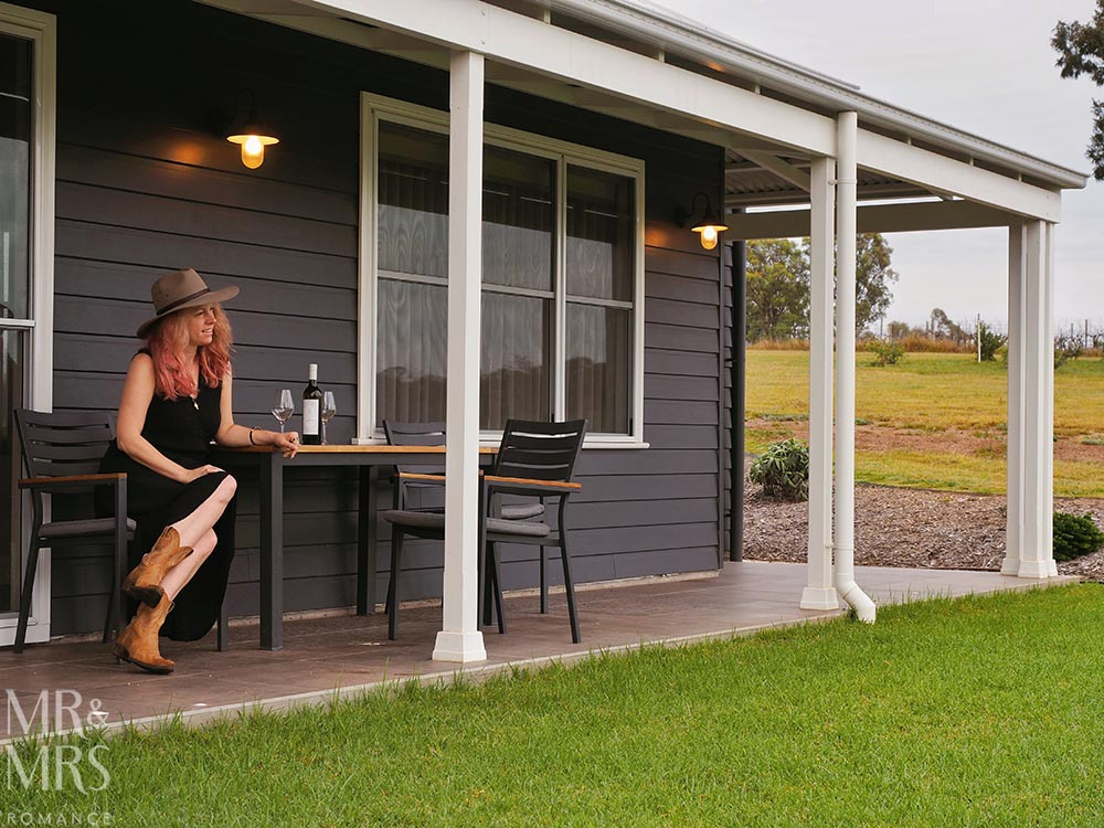 Where to stay in the Hunter Valley - Aldora Cottage in Jindalee Estate, Pokolbin hotel review - back veranda