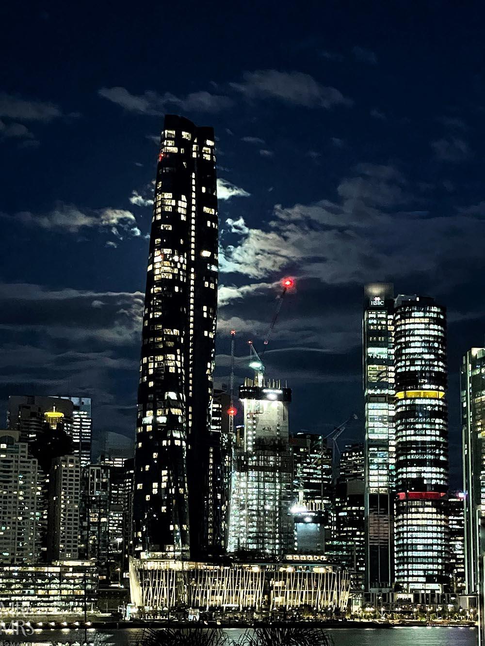 Sydney lockdown in moonlight