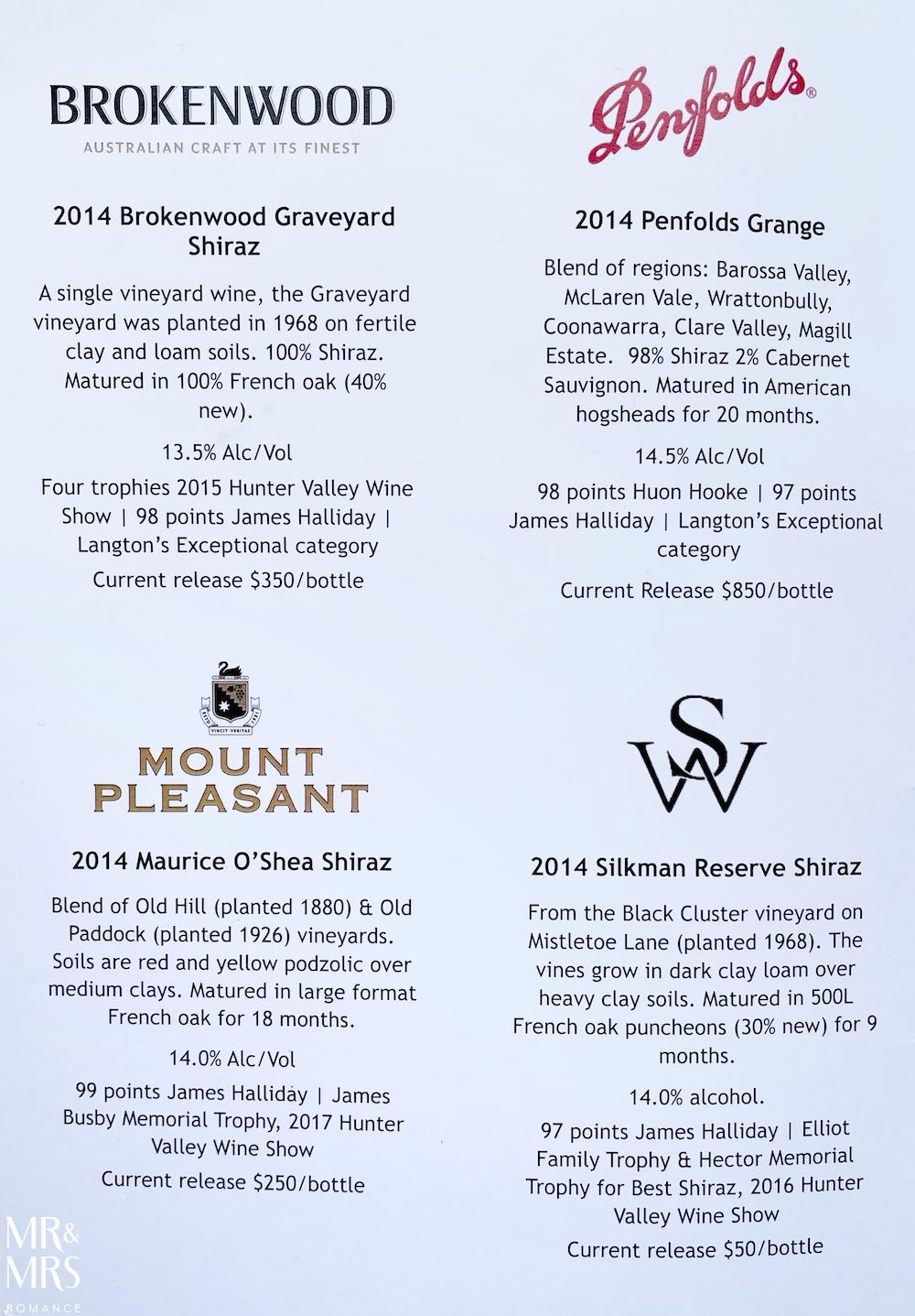 Penfolds Grange, Brokenwood Graveyard Shiraz, Mount Pleasant Maurice O'Shea, Silkman Reserve, Hunter Valley wine