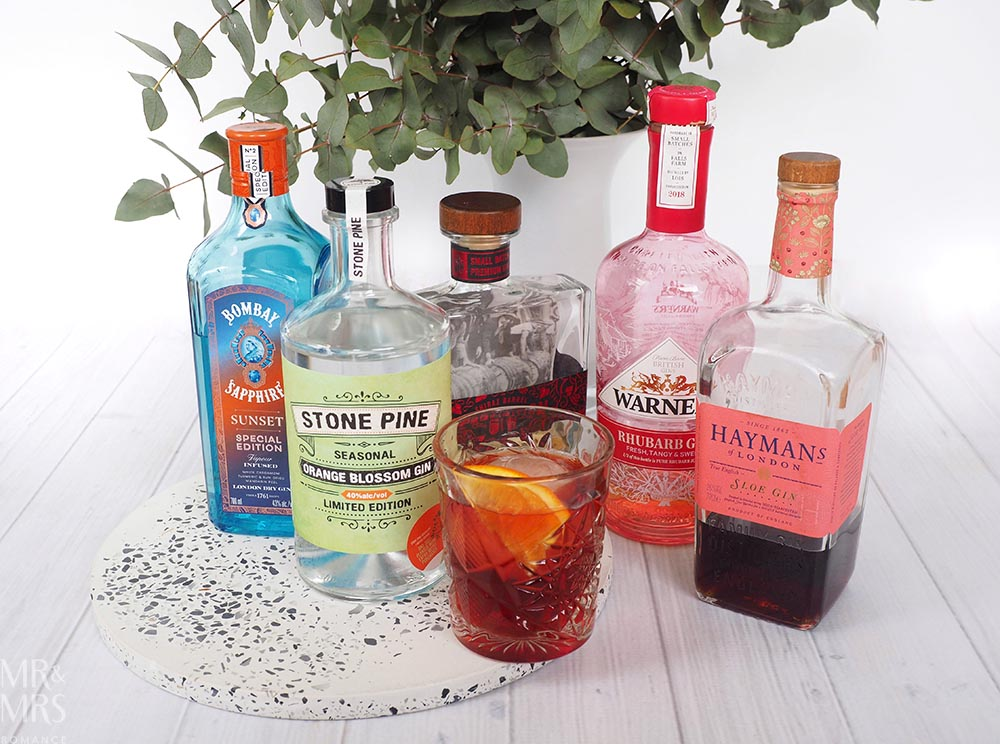 Negroni cocktail gins Stone Pine, Bombay Sapphire, Prohibition, Haymans, Warners