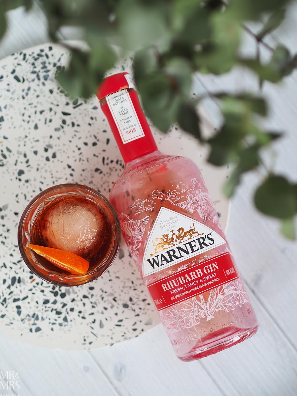 Negroni cocktail Warner's Rhubarb pink gin