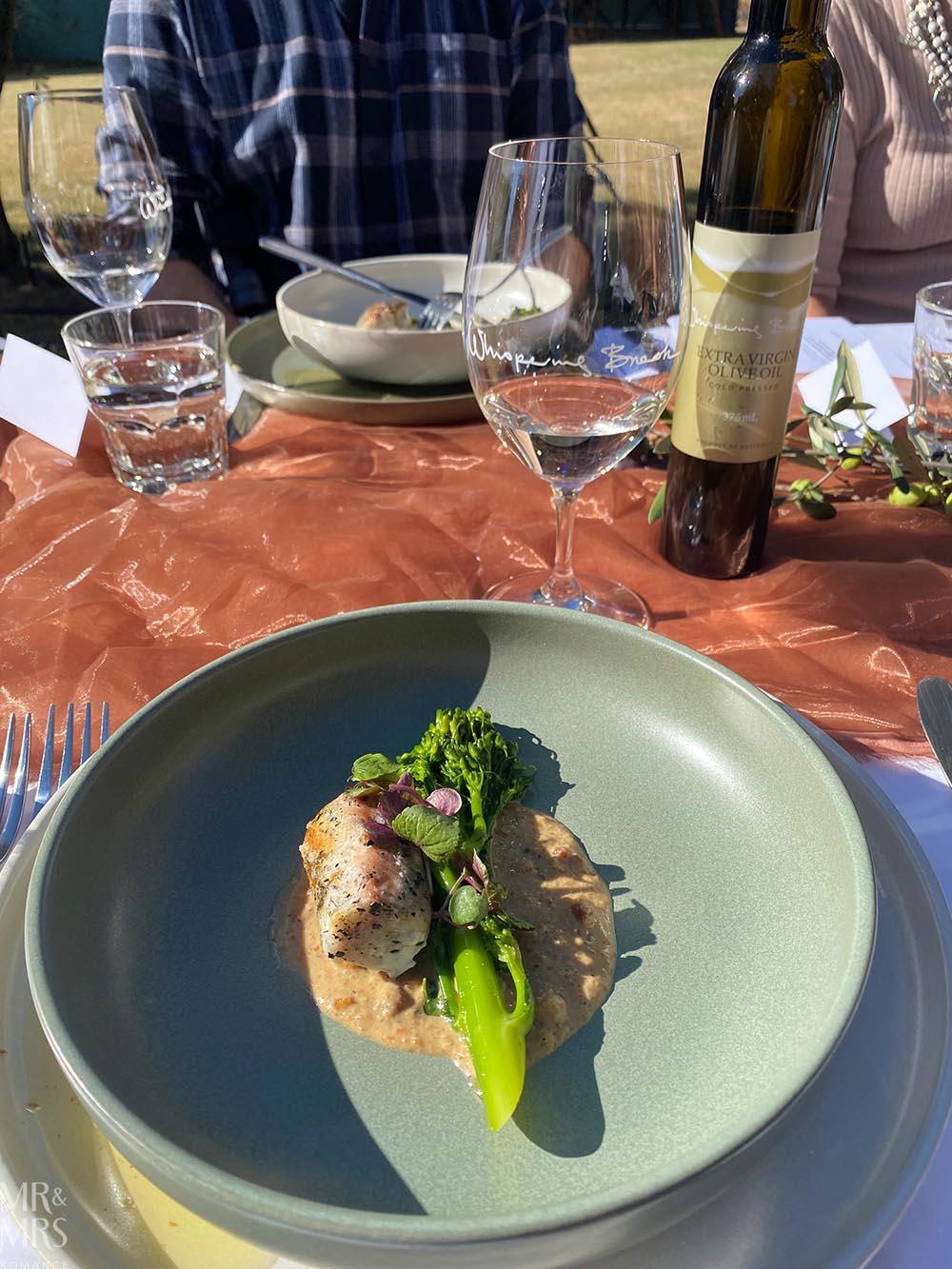 Whispering Brook Estate Olive Long Table Lunch, Hunter Valley - Mr & Mrs Romance - entree hiramasa kingfish